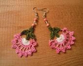 crochet earrings, pink flower, green