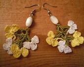 crochet earrings, yellow white green flower