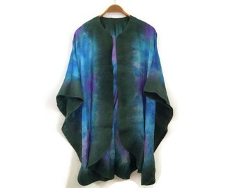 silk felted poncho, turquoise green shawl
