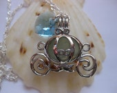 Carriage locket Princess Pendant Sea Glass Jewelry Beach Glass Jewelry Handmade, Custom Jewelry