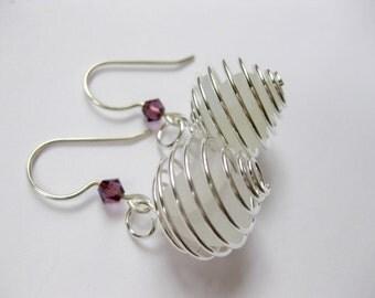 Crystal  Seaglass Earrings Beach Glass Earrings Seaglass Jewelry I Love jewelry Beach Glass Jewelry, Handmade Custom Jewelry