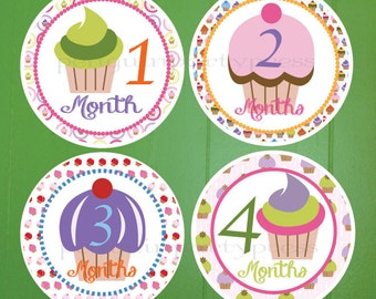 Cupcake, Milestone Stickers, Monthly Stickers, Baby Shower Gift, Baby Stickers, Professionally Printed