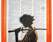 vintage dictionary art print 7.75x10.75 inches - mugen samurai champloo on dictionary paper