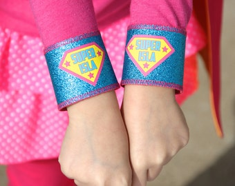 SPARKLE SUPERHERO Accessory Wrist Cuffs - PERSONALIZED Full name - Super Hero Costume Accessories - Custom Easter Gift