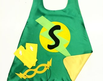 Green Kids SUPER HERO CAPE Set - Customized Gift - Choose the Initial - Includes Cape + Bolt Mask + Power Gloves - Green and Black Cape