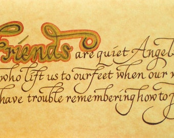 Friends Friendship Card Calligraphy Angel Note Card Hand Lettered