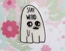 Ghost brooch, Stay weird, creepy cute, halloween pin, Holographic glitter, spooky set, tumblr, 90's pin style, halloween, jean jacket