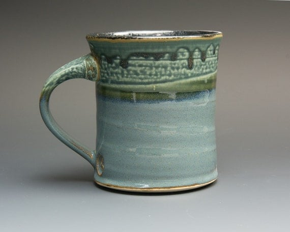 Sale Handmade Stoneware Coffee Mug Or Tea Cup Soft Blue 14