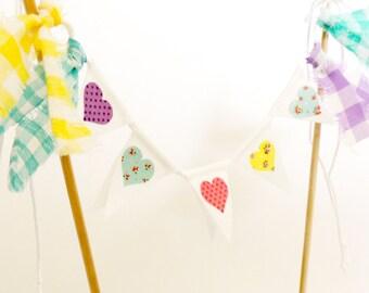 HEART Wedding Shabby Chic Cake Banner Topper, Girl Birthday Mini Cake Bunting, Fabric Pennant Flags, Bridal, Baby Shower Cake Banner Topper