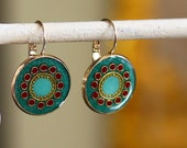 Gold round earrings ,  Green earring , forest green ,   turquoise ,  gold plated brass nickel free ,