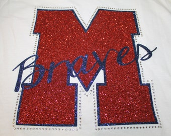 Mascot and School Glitter and Bling Shirt or Tank, Baseball Mom Shirt, School Spirit Shirt, School Shirt, Football Shirt, Football Mom Tee