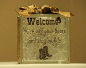 Western Welcome DIY decal for Glass Blocks