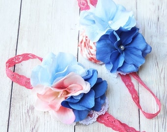 Bunny Blues- coral and shades of blue headband with lace M2M Eleanor Rose Blue Bunny collection