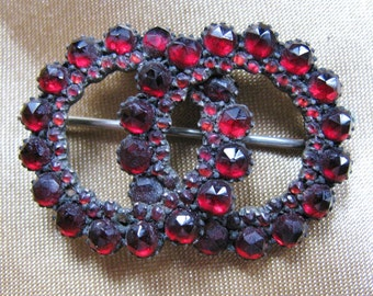 Victorian Brooch Garnet Double Intertwined Circles