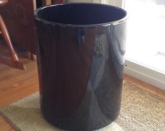 Gainey Ceramics Black Tall Cylinder Mid Century Modern Architectural Planter Pot
