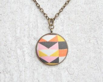 Warm Mod, Fabric Button Pendant Necklace