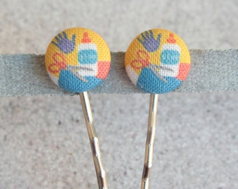 Back to School, Fabric Covered Button Bobby Pin Pair