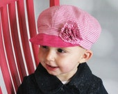 Toddler girls hat pink baby hat with brim embellished handmade baby cap pink houndstooth - Kaylee