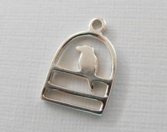 Sterling Silver Song Bird Charm Artisan Made 8mm 10mm
