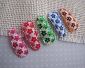 Petite Floral . baby snap clip set . toddler hair accessory . pink red green blue brown