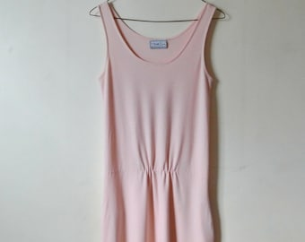 Vintage Pink Tank Dress with Pockets - Size Small Medium