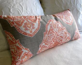 MALTA APRICOT  designer fabric accent lumbar Bolster Pillow 12x26 insert included