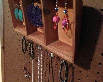 Upcycled Jewelry Organizing Display (Wood 3 Section Tray)