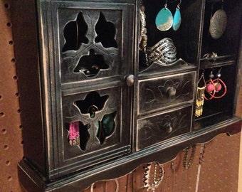 Upcycled Jewelry Holder Organizing Display Cabinet (Black)