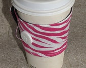 Pink Zebra Coffee Sleeve Cup Cozy
