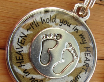 Miscarriage loss I will hold you in my heart until I hold you in heaven... silver bronze pregnancy loss word quote phrase pendant with chain