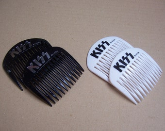 Vintage hair combs 4 designer combs KISS Aucon hair pin hair pick hair slide hair barrette hair accessory hair ornament hair jewelry
