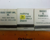 John Deere matches, vintage matches, implement dealer matches, advertising matches