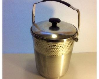 Hammered Aluminium Ice Bucket - Made In Italy, 50s Mid Century Ice Bucket, Hammered and Brushed Aluminum