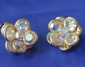 Vintage Swarovski Bezel AB Crystal Cluster Clip On Earrings Rhinestone Flower