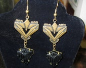 1940s GWS Brass Top & Grooved Black Crystal Bottom Signed Earrings