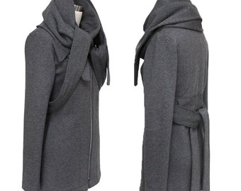 SALE - Structured Wrap Scarf Sweater Jacket - High Quality Sweatshirt Fleece