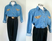 Denim Jumpsuit Romper Jumper / Vintage 1980s Catsuit Retro Fashion