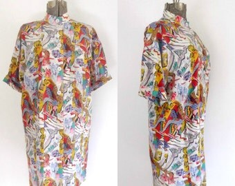 Vintage Fendi Silk Duster Shirt Dress / High Fashion Avant Garde Vintage 1980s