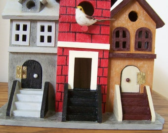 Decorative Brownstone Birdhouse - Three Buildings in One with Birds - Doors Open/Close - Hand Painted - Home Decor - Red,Grey & Brown