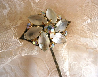 Bridal hair pin, vintage earring bobby pin, frosted glass rhinestone vintage jewelry hair pin, vintage bobby pin