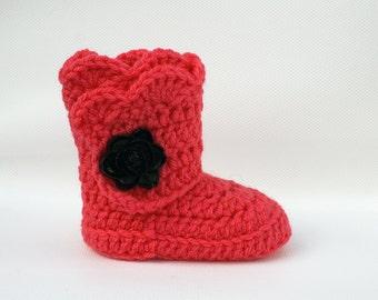 Coral Infant Crochet Scallop Wrap Boots- Choose your Size