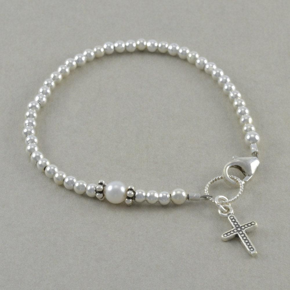 baptism bracelet christening pearl pearls by