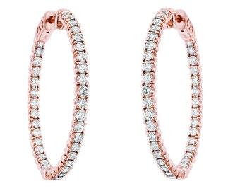 """14k Rose Gold Inside & Outside Diamond Hoop Earrings 2.90 Carat 1.25"""" inch"""