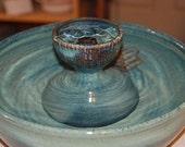 "Ceramic Cat Fountain, Handmade, Foodsafe -  ""Midnight Piazza"" - 12 Inch Diameter"