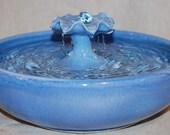 "Cat Drinking Fountain, Table Fountain- Foodsafe, Ceramic - 11.5 Inch Diameter - ""Blue Petunia II"""