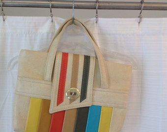 Vintage Vinyl colorful stripe handbag purse