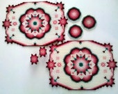 Embroidered Placemats / Napkin Rings / Coasters Set, White, Pink, & Green Geometric Floral, Plastic Canvas Embroidered, Vintage Handmade