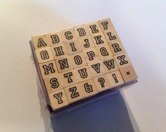 Mini Alphabet Wood Mounted 30pc Stamp Set