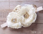 Holly headband ivory and gold