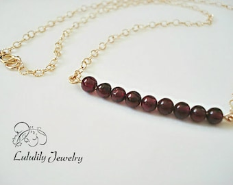 Garnet Necklace, January Birthstone Necklace, Gold Necklace, Bar Necklace, Lea Michelle Style